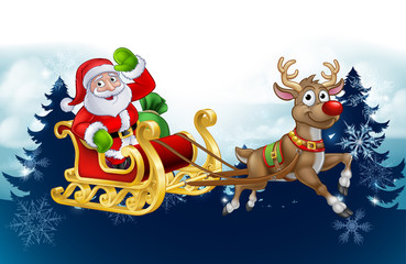 Santa Claus in his sleigh pulled by reindeer with winter landscape background Christmas cartoon