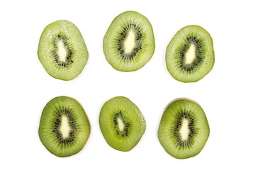 Kiwi fruit slices, set and collection isolated on white background, top view