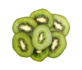Kiwi fruit slices isolated on white background, top view