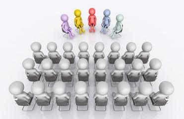 Diskussionsrunde mit Publikum und 3D Figuren
