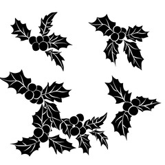set of Christmas holly leaves.Black silhouette of Holly traditional Christmas decoration