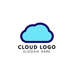 cloud tech logo design in line art style. cloud logo design vector icon