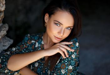 Perfect girl sensual portrait outdoor