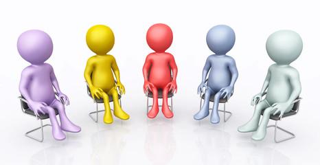 Diskussionsrunde mit 3D Figuren