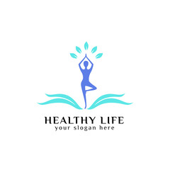 healthy life logo design vector in blue color. healthcare logo vector icon
