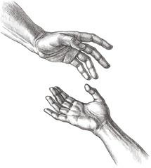 Мужская и женская руки, прикосновение. Рисунок тушью.