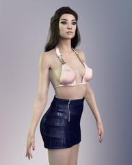 Pretty Asian woman in sexy dress