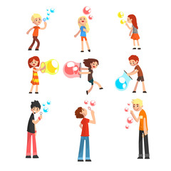 Adults and children blowing soap bubbles set cartoon vector Illustration on a white background