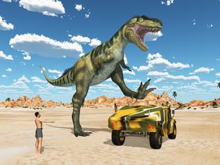 Dinosaurier Bistahieversor attackiert einen Geländewagen