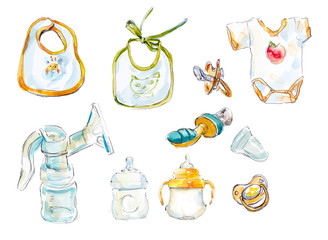 Baby objects of care. Watercolor hand drawn illustration