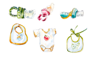 Little kids. Toys and objects of care. Watercolor hand painted illustration