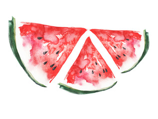 Watercolor watermelon.Watercolor drawing, Red piece, a slice of watermelon. Vintage illustration, greeting card,logo. Tropical Fruit on a white isolated background.