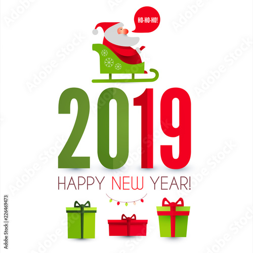 Happy Ner 2019 Year Christmas Design Template With Santa Claus