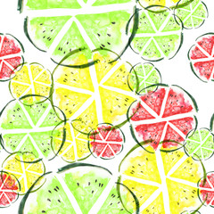 Watercolor painting, vintage seamless pattern - tropical fruits, citrus, slices of lemon, watermelon, melon, pineapple. Citrus marmalade, slices. green, lime Fashionable stylish art background
