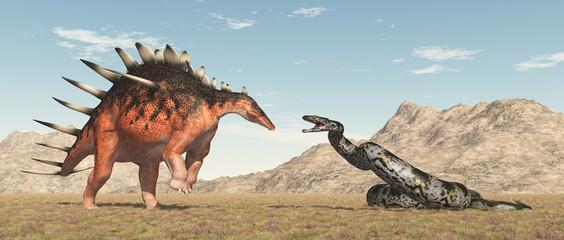 Dinosaurier Kentrosaurus und Riesenschlange Titanoboa