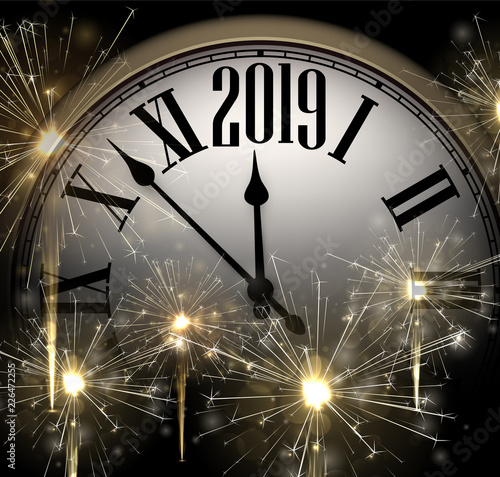 New Year 2019 background with clock and golden sparkle