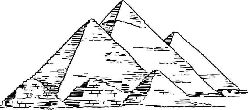 Pyramids of Giza Vector Drawing