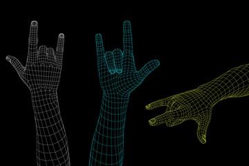Hand gesture. Rock n roll sign. Vector wireframe illustration.