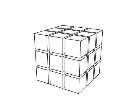 Abstract 3d cube from cubes. Vector outline illustration.
