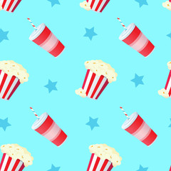 vector cartoon style popcorn and soda yellow seamless pattern on blue background