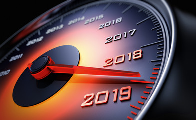 Tachometer 2019 orange leuchtend