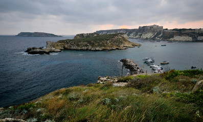 Puglia, Italy, August 2018, seascape of the four islands in the Tremiti archipelago, at dawn