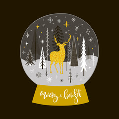 Christmas snow globe with golden deer, firs and snowflakes