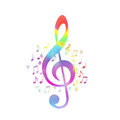 Colorful G-clef with music notes vector illustration design. Abstract musical background, artistic poster with g-clef