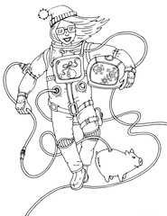 Vector illustration of an astronaut on new year, new year of the pig