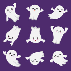 Cute kawaii ghost. Halloween scary ghostly characters. Ghost vector collection in japanese style. Illustration of halloween ghost soar, mysterious fly ghostly