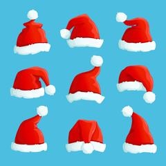 Santa hats. Cartoon christmas costume caps with fur. Santa claus hat vector set. Illustration of cap santa claus, costume holiday christmas