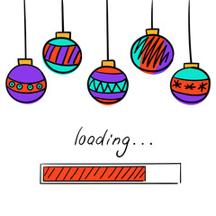 Loading New Year card with progress bar and Christmas balls.