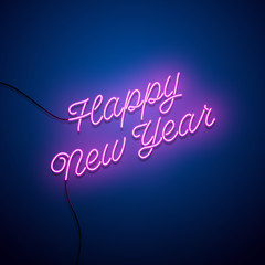 New year neon sign. Vector background.