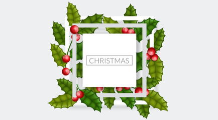 Christmas frame with holly berry and leaf, on horizontal banner background. Simple, elegant frame design for Christmas, or other winter holiday, event or celebration
