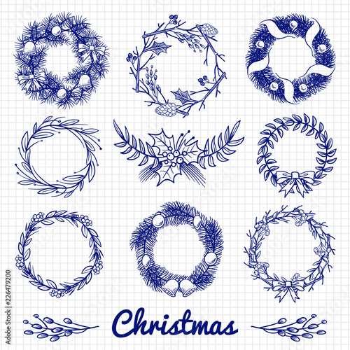 Christmas Wreath Drawing.Ballpoint Pen Drawing Christmas Doodle Wreath And Decorative