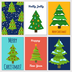 Christmas and New Year cards template with cartoon festive Christmas tree. Vector christmas tree to winter holiday illustration