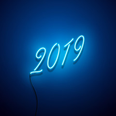 New year 2019 neon sign. Vector background.