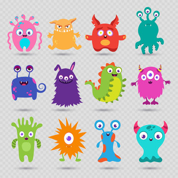 Cute cartoon baby monsters vector isolated on transparent background. Monster baby, alien or beast collection, face cyclop illustration