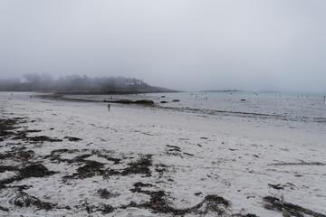 Morning sea mist on the beach.