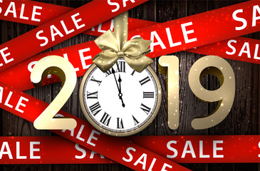 Wooden sale 2019 background with gold clock and ribbons.