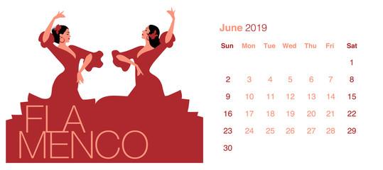 2019 Dance Calendar. June. Two beautiful Spanish women wearing typical Spanish clothes dancing flamenco