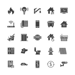 Public utilities flat glyph icons. Rent receipt, electricity water, gas, house heating, CCTV, overhaul, garbage vector illustrations. Signs for utility invoice. Solid silhouette pixel perfect 64x64.