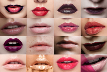 Collage lips close-up beauty different lipstick