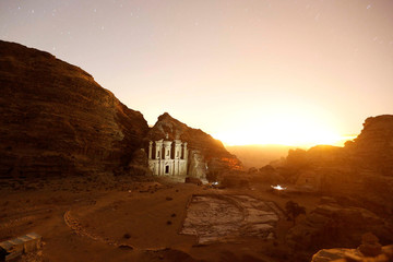 A general view show The Monastery at night in the ancient city of Petra, south of Amman