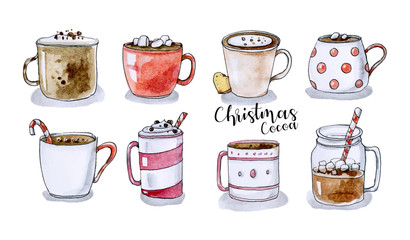 Assorted Christmas mugs collection in hand drawn style