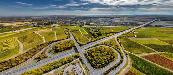 Luftbild Autobahnkreuz A61 bei Alzey