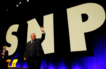 Ian Blackford, the Scottish National Party's leader in the House of Commons speaks at his party's conference in Glasgow, Scotland