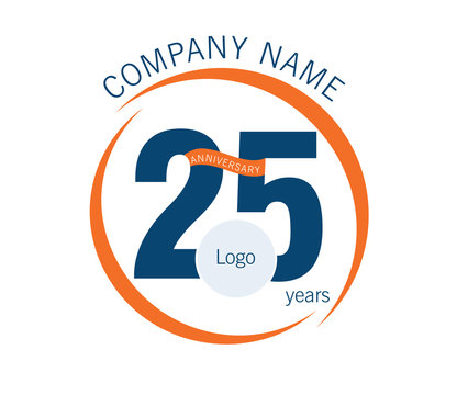 25 years celebrating logo with blue and orange, isolated on white background, illustration vector. Creative vision concept logo, symbol for card, brand, banners