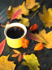 Coffee mug surrounded by autumn colorful leaves on a dark background