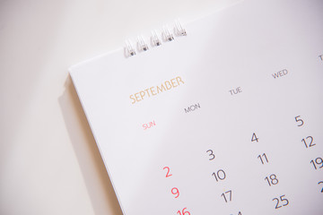 calendar page in planning concept.